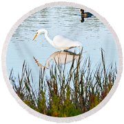 Round Beach Towel featuring the photograph Egret And Coot In Autumn by Kate Brown
