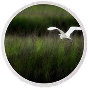 Round Beach Towel featuring the photograph Egret At Pawleys Island by Frank Bright