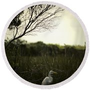 Egret At Sunset Round Beach Towel
