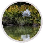 Round Beach Towel featuring the photograph Egret At The Lake by Chris Lord