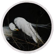 Egret Bird City At Avery Island Louisiana Round Beach Towel