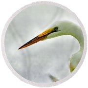 Egret Close-up Round Beach Towel