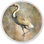 Egret Round Beach Towel by Daniel Eskridge