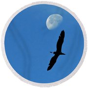 Round Beach Towel featuring the photograph Egret Flight by Charlotte Schafer