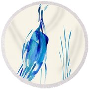 Egret In Blue Mixed Media Round Beach Towel by Frank Bright