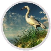 Egret In The Dunes Round Beach Towel by Daniel Eskridge