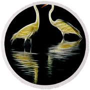 Egret Pair Round Beach Towel by Jerry Fornarotto