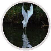 Round Beach Towel featuring the photograph Egret Take Off by Charlotte Schafer