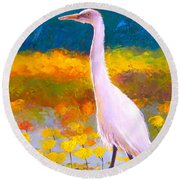 Egret Water Bird Round Beach Towel by Jan Matson
