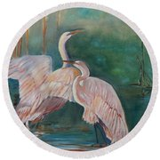 Round Beach Towel featuring the painting Egrets In The Mist by Jenny Lee