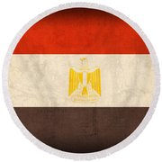 Egypt Flag Distressed Vintage Finish Round Beach Towel