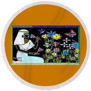 Round Beach Towel featuring the digital art Egyptian Flower  Garden by Hartmut Jager