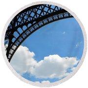Eiffel Clouds Round Beach Towel