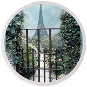 Eiffel Garden In Blue Round Beach Towel