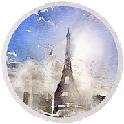 Eiffel During Summer Round Beach Towel