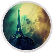 Eiffel Lighthouse Round Beach Towel