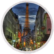 Eiffel Over Paris Round Beach Towel