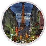 Eiffel Over Paris Round Beach Towel