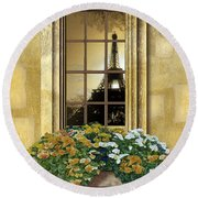 Eiffel Reflection Round Beach Towel