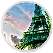 Eiffel Tower 8 Round Beach Towel