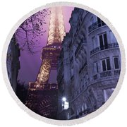 Eiffel Tower From A Side Street Round Beach Towel