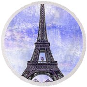 Eiffel Tower Paris Round Beach Towel