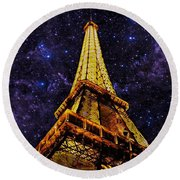 Round Beach Towel featuring the photograph Eiffel Tower Photographic Art by David Dehner