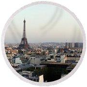 Eiffel Tower Viewed From Arc De Round Beach Towel
