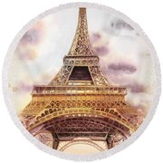 Eiffel Tower Vintage Art Round Beach Towel by Irina Sztukowski