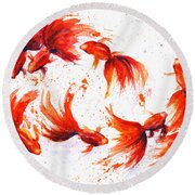 Eight Dancing Goldfish  Round Beach Towel