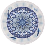 Eight-koi Lotus Mandala Round Beach Towel