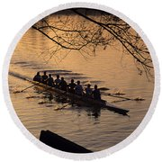 Eight Man Crew Rowing Along Montlake Cut  Round Beach Towel