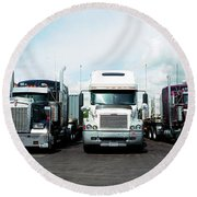 Eighteen Wheeler Vehicles On The Road Round Beach Towel