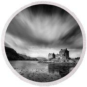 Eilean Donan Castle 1 Round Beach Towel by Dave Bowman
