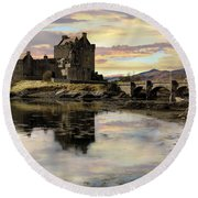 Round Beach Towel featuring the photograph Eilean Donan Castle Scotland by Jacqi Elmslie