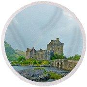 Eilean Donan Castle Textured 2 Round Beach Towel