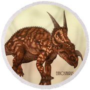 Einiosaurus Round Beach Towel by Bob Orsillo