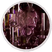 Einstein In Crystal - Purple Round Beach Towel