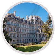 Eisenhower Executive Office Building In Washington Dc Round Beach Towel