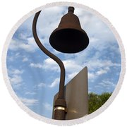El Camino Real Bell Outside Of San Gabriel Mission Round Beach Towel