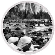 El Cap And Snow Round Beach Towel