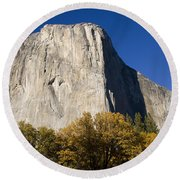 Round Beach Towel featuring the photograph El Capitan In Yosemite National Park by David Millenheft
