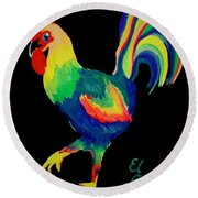 Round Beach Towel featuring the painting El Gallo by Marisela Mungia