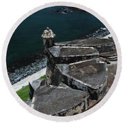 El Morro From Above Round Beach Towel