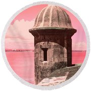 El Morro In The Pink Round Beach Towel
