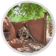 Round Beach Towel featuring the photograph El Rancho De Las Golondrinas by Roselynne Broussard