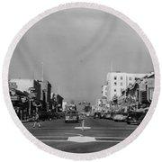 El Rey Theater Main Street Salinas Circa 1950 Round Beach Towel