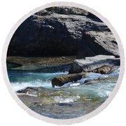 Elbow Falls Landscape Round Beach Towel by Cheryl Miller