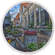Round Beach Towel featuring the photograph Elburg Alley by Frans Blok