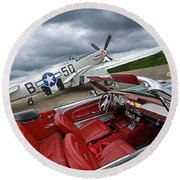 Eleanor Cockpit With P51 Mustang Round Beach Towel
